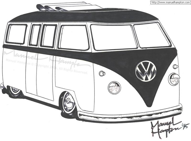 volkswagen bus coloring pages - photo#23