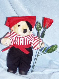 Pirate Teddy Bear holding silk Rose