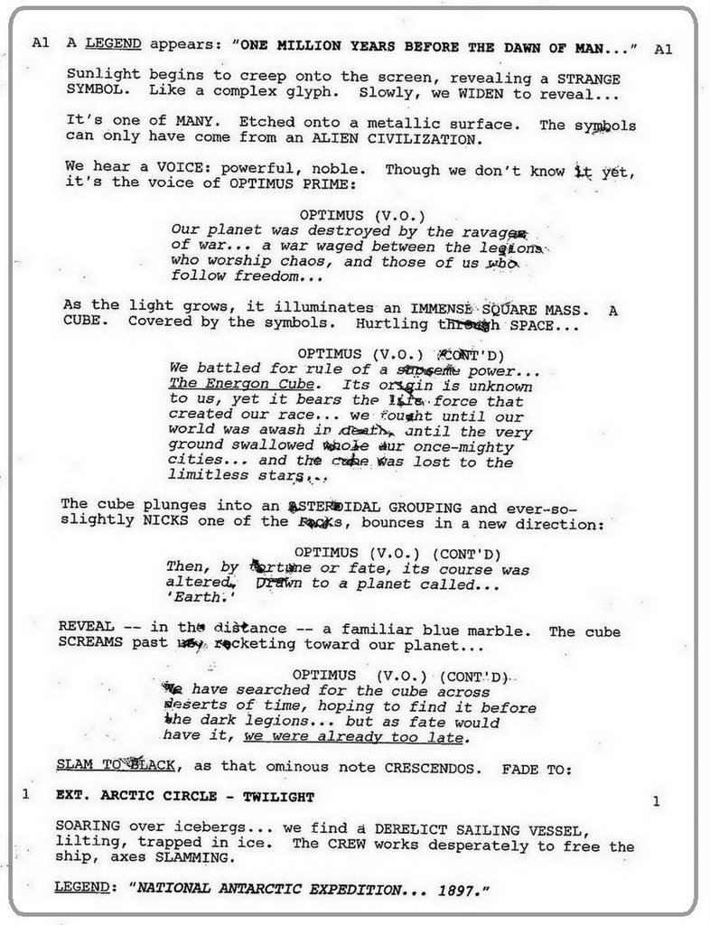 Read all about it: Official 2007 Transformers Movie Script ...
