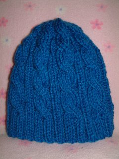 055db851f01d91 Chemo Hat #8 Completed - 3AM Blue Cable Hat ~ smariek knits