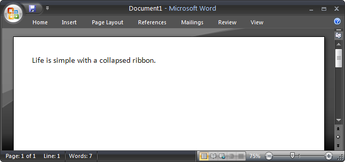 Screenshot of Word 2007