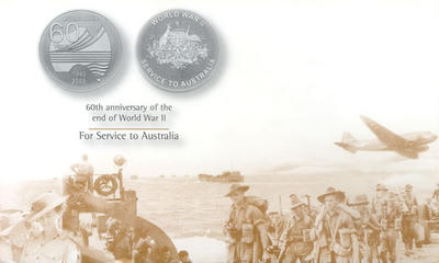 60 YEARS. 1945 - 2005. WORLD WAR II - SERVICE TO AUSTRALIA. 60th anniversary of the end of World War II - For Service to Australia