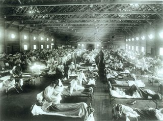Emergency hospital during influenza epidemic, Camp Funston, Kansas. (1918) - Image from the National Musuem of Health and Medicine