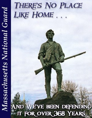 Massachusetts National Guard P.R. image, showing a statue depicting Capt. John Parker, leader of the Lexington Minutemen.  The statue stands in Lexington Center, Lexington Massachusetts.  The statue was created by Henry Hudson Kitson in 1900