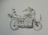 Japanese school graffiti kamikaze motorbike.