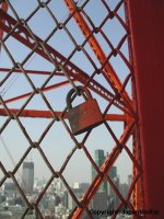 Lovers' lock on Tokyo Tower.