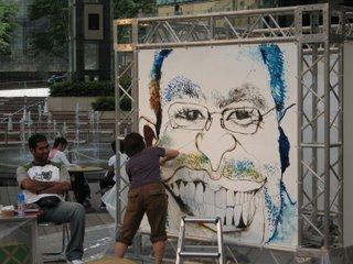 Caricature artist at work in Roppongi Hills, Tokyo.