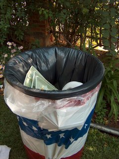 trash can wrapped in red white and blue