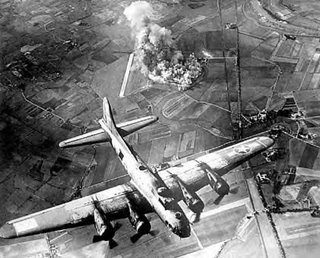 An 8th Air Force B-17 makes a bombing run over Marienburg, Germany, in 1943