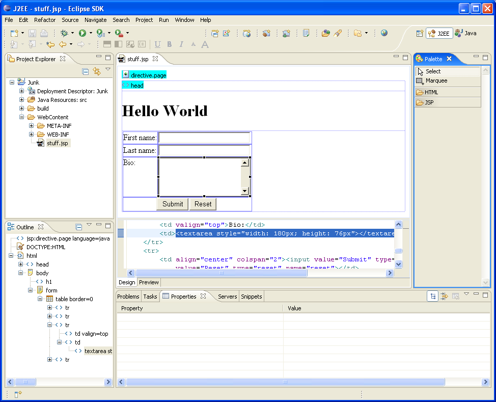 Jsp html editor for Eclipse html template