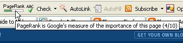 FireFox with Google toolbar PageRank icon