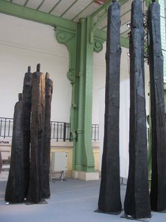Christian Lapie, treated oak sculptures, 2006, Alice Pauli
