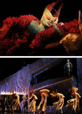 Denyce Graves as the Dragon (top) and Eric Owens as Grendel (bottom), Grendel, Los Angeles Opera, photos by Robert Millard