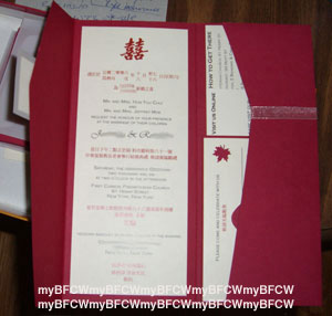Inside Of Invite Chinese In Red Text Above The English Black There Is A Minor Typo Which We Rectified By Punchiing Out Various Heart Shapes