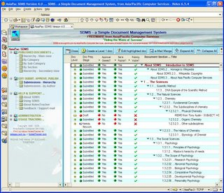 Example of the SDMS Version 4.0 document publishing cycle view. (Click for a larger image.)