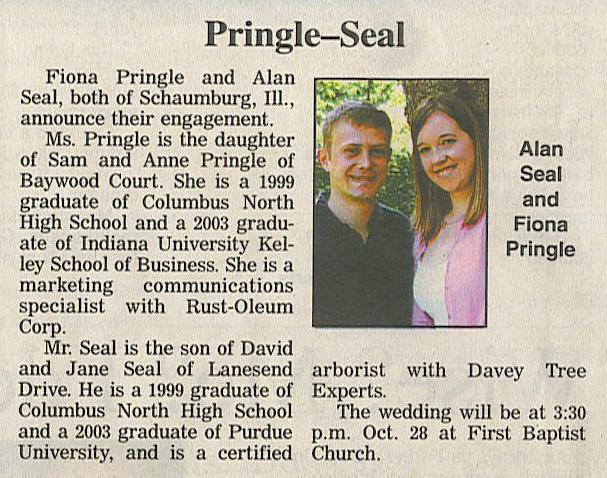 Wedding Announcements Newspaper.Pringle Seal Wedding