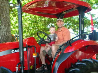 With Dad on a tractor