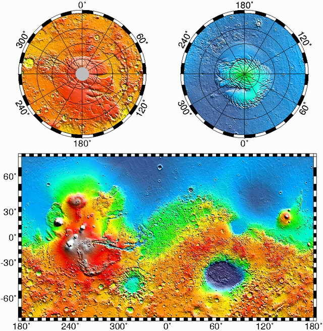 False-color altitude-encoded map of Mars, from Mars Global Surveyor's MOLA altimeter