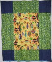 Super sized 9-patch quilt with fish #1