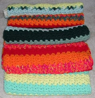 5 crocheted afghans