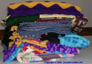 stack of Project Linus blankets