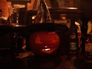 Eric the pumpkin wearing my witches hat