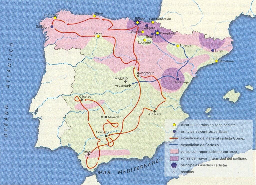 Primera Guerra Carlista Mapa.Biombo Historico Carlismo Analisis Y Comentario Del Mapa