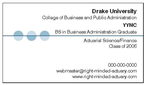 How To Make An Actuarial Student Business Card