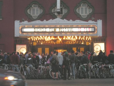 Image of cinema marquee advertising a Bicycle Film Festival