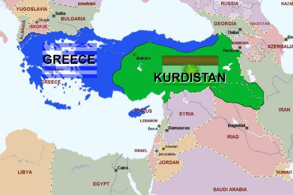 look at the map of greece and kurdistan created by an anonymous greek jokester this map is an insult to turks and i suppose to armenians too in an