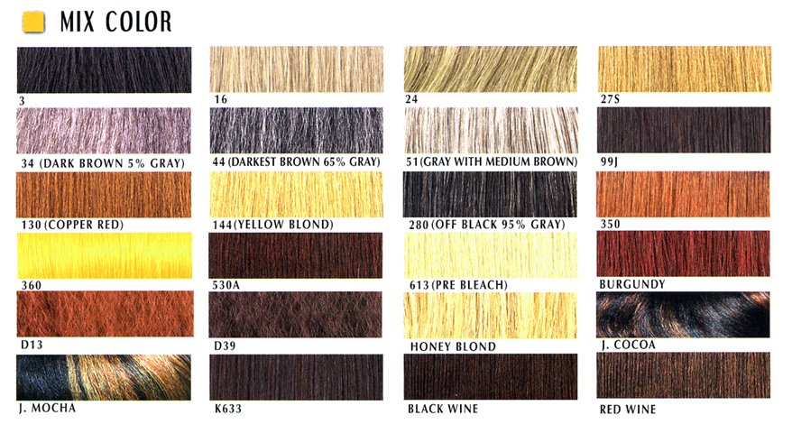 Hair Color Chart Mix