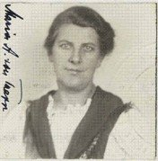 Photograph of Maria von Trapp from her naturalization record, 1944.
