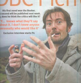 DBC Pierre was pictured on the cover of The Weekend Australian's Review supplement for 25-26 February, 2006