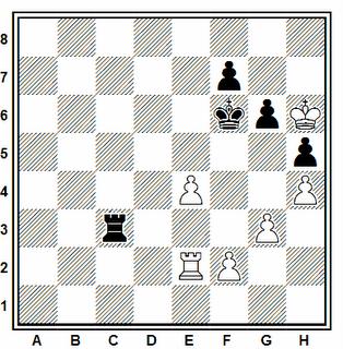 Posición de la partida de ajedrez Anikaev - Gavrikov (URSS, 1983)