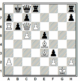 Posición de la partida de ajedrez Samisch - Schieferdecker (Mainz, 1953)