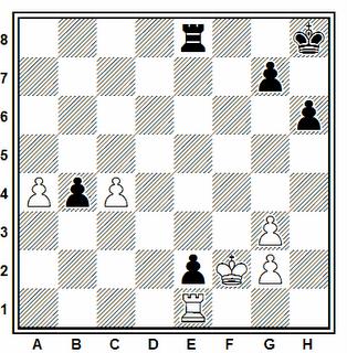 Posición de la partida de ajedrez Lihchik - Peevo (URSS, 1976)