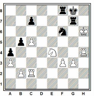 Posición de la partida de ajedrez Sergeev - Vulfson (correspondencia, 1987)
