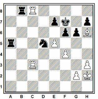 Posición de la partida de ajedrez IM Renier Vázquez - FM José Manuel Pérez (Collado Villalba, 2006)