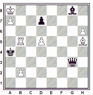 Estudio artístico de A. P. Kazanzew (1º Premio, Schachmaty, 1953)