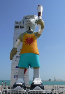 Orrie, the Doha Asian Games mascot, counts the days, hours, minutes and seconds to the start of the 19th Asian Games