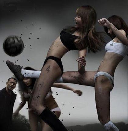 Girls play soccer