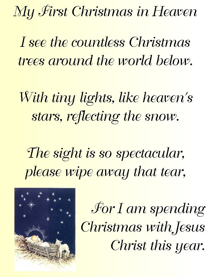 My First Christmas In Heaven.Conservative By Nature S Favorite Poems My First Christmas