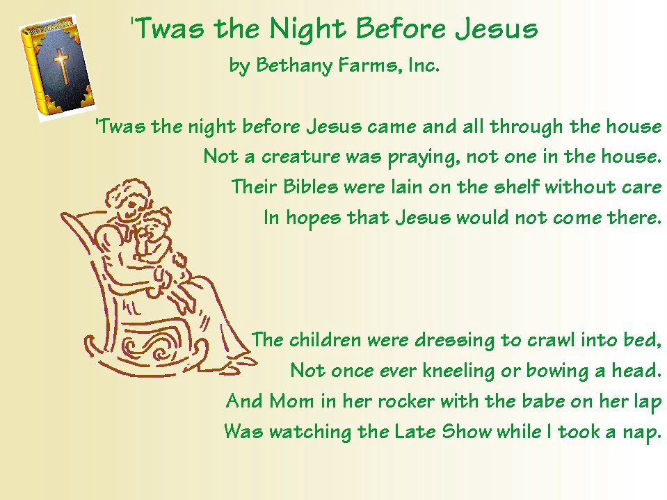 graphic regarding Twas the Night Before Jesus Came Printable called conservative through natures most loved Poems: November 2005