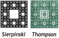 A Martin Thompson drawing compared to a Sierpinski Carpet