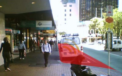 Lambton Quay, with some of the proposed pavement extension in red