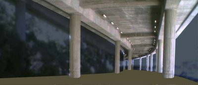 Converting the space under the motorway into an indoor sports venue