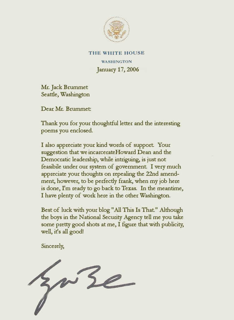 retirement letter of appreciation from the president all this is that a letter from president george w bush 116