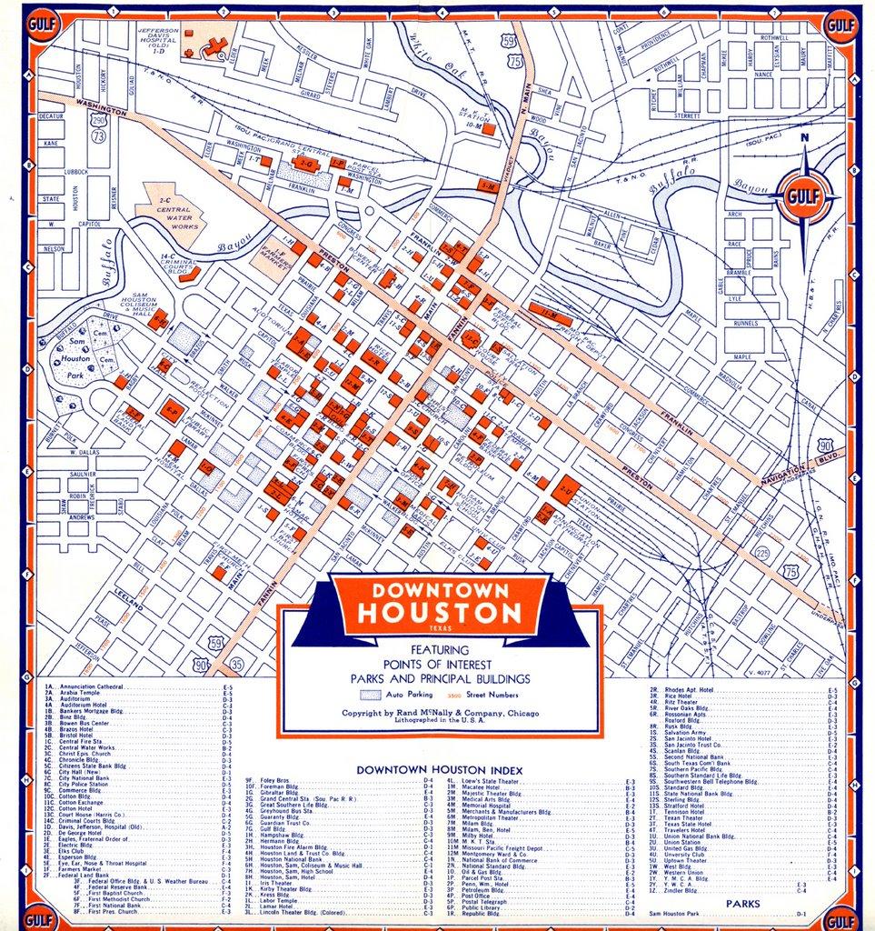 Bayous In Houston Map.Bayou City History Houston Map Of Downtown Houston