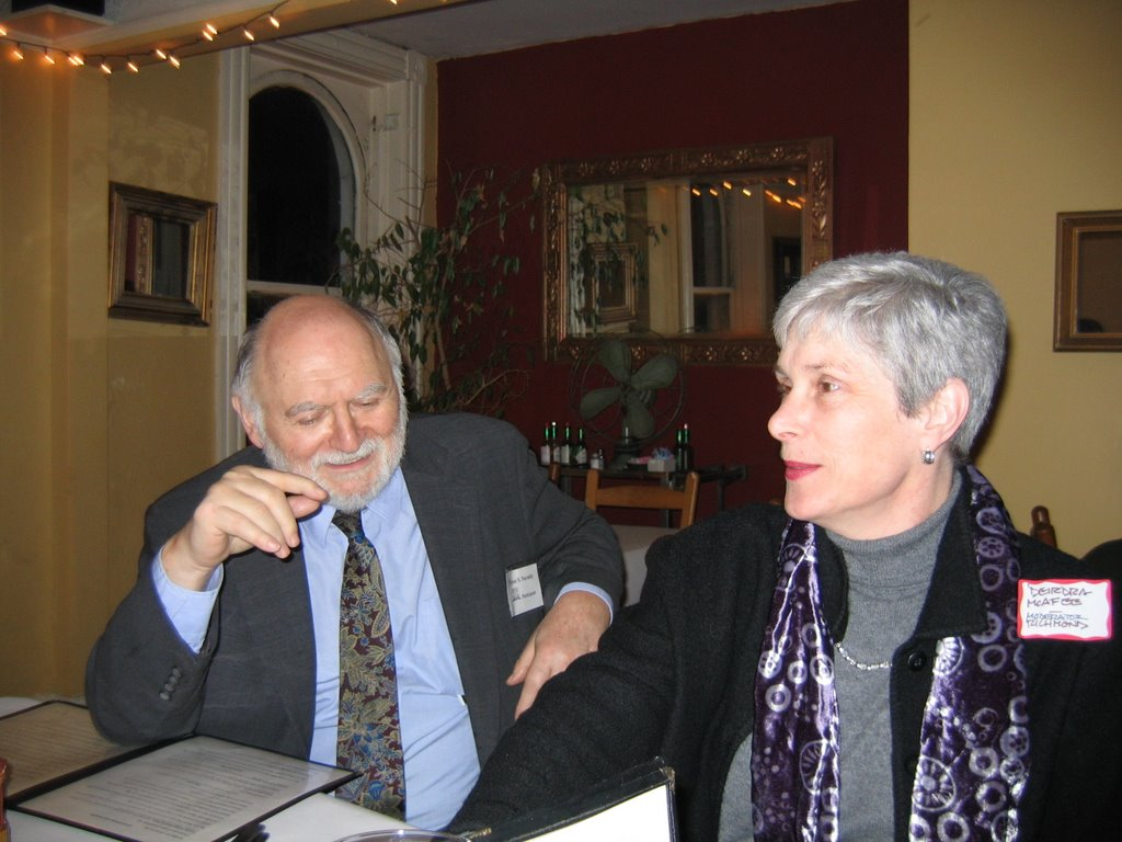 (right) Victor Navasky of The Nation and writer Deirdra McAfee.