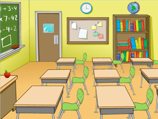 cartoon solutions classroom background